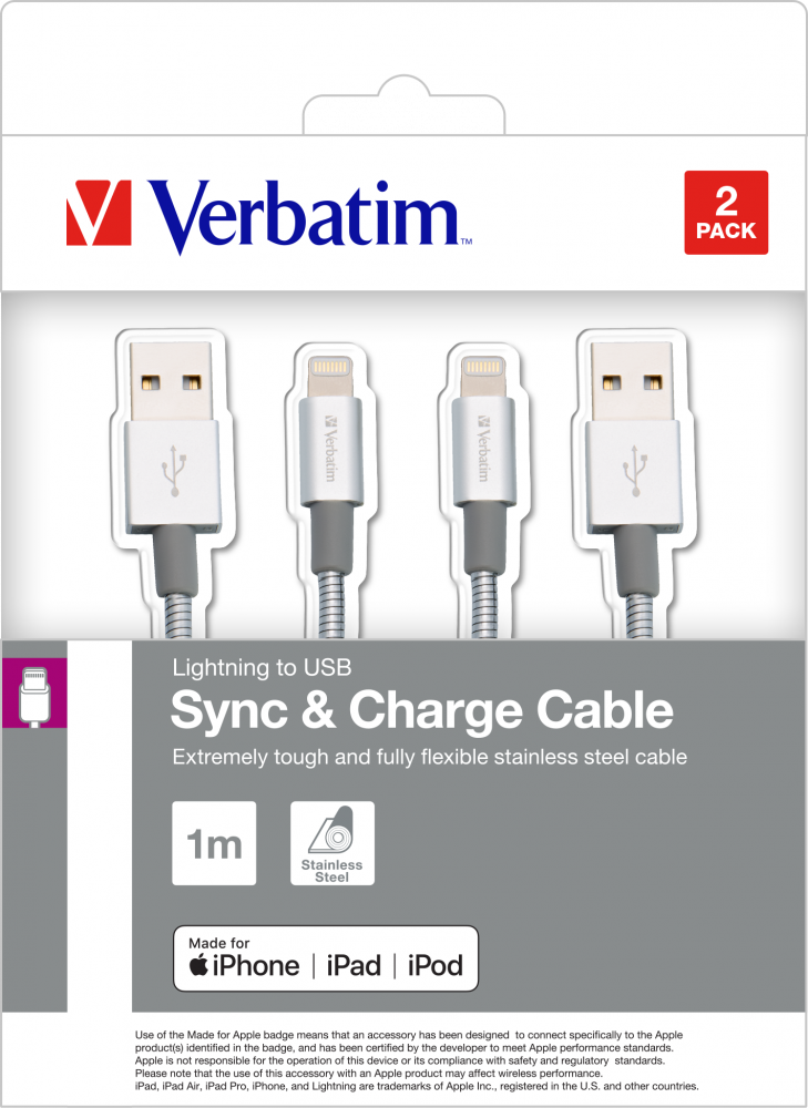 Verbatim Lightning to USB Stainless Steel Sync & Charge Cable 100cm Silver 2 Pack