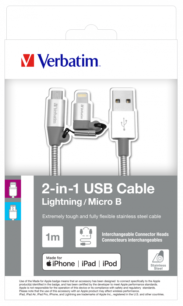 2-in-1 Lightning + Micro B USB Stainless Steel Sync & Charge Cable - 100cm