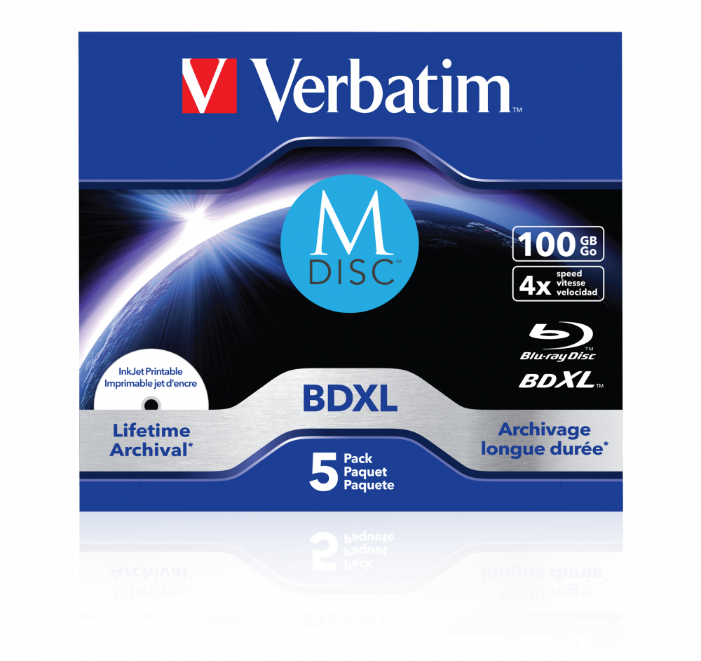 Verbatim MDISC Lifetime archival BDXL 100GB - boîtier, lot de 5