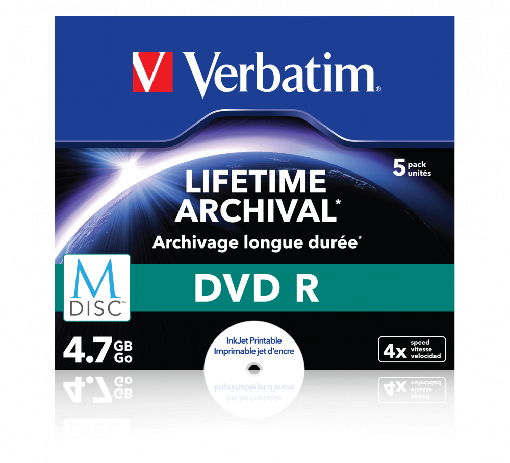 Verbatim MDISC Lifetime Archival DVD R - 5 Pack Jewel Case