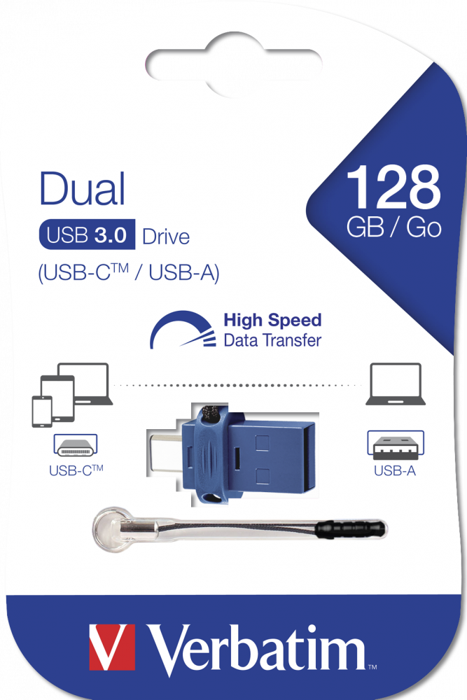 Clé USB à double connectique de USB-C/USB-A 128 Go*