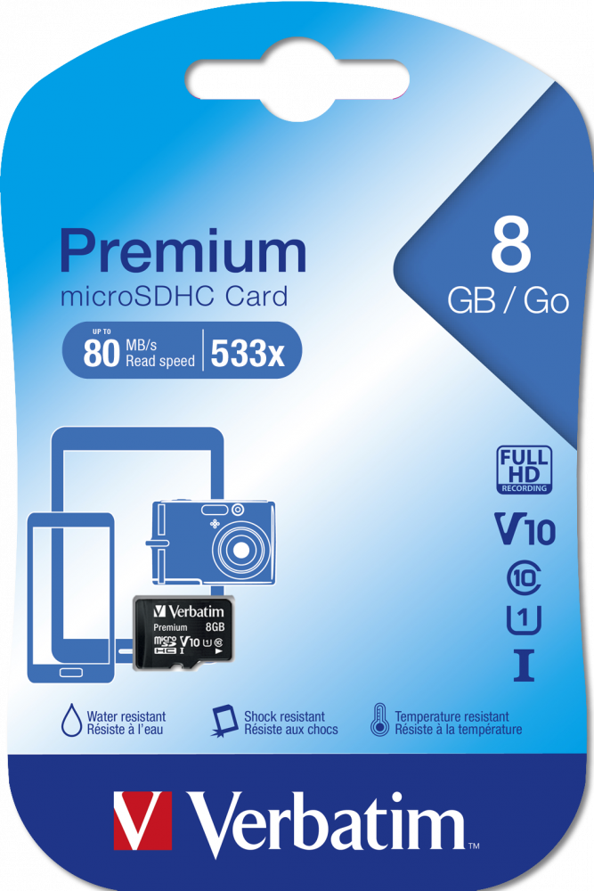 Verbatim Premium U1 microSDHC Card 8GB*