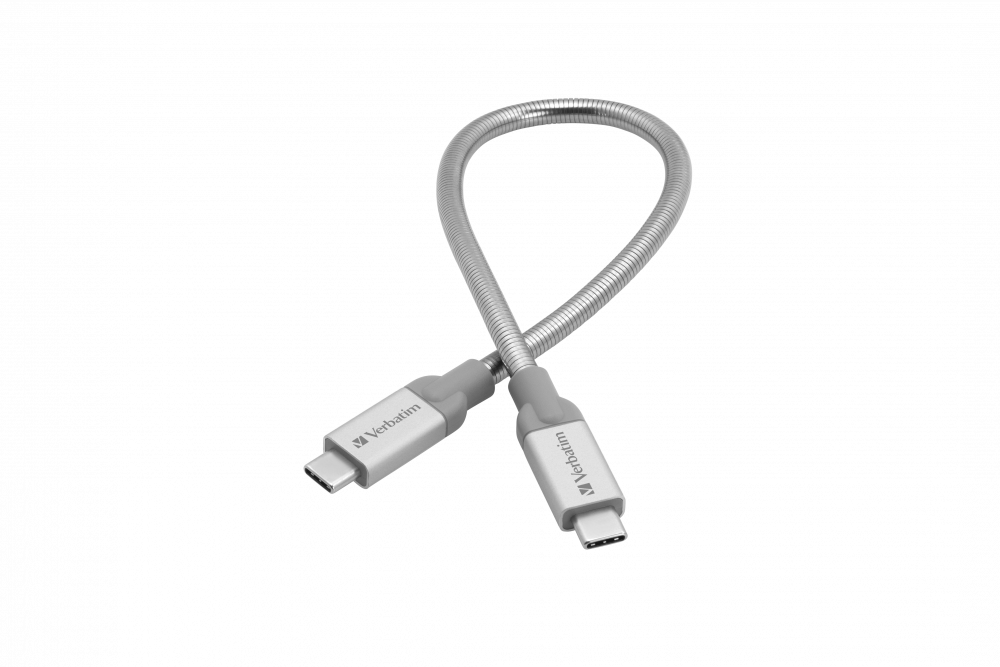 Verbatim USB-C to USB-C Stainless Steel Sync & Charge Cable USB 3.1 GEN 2 30cm