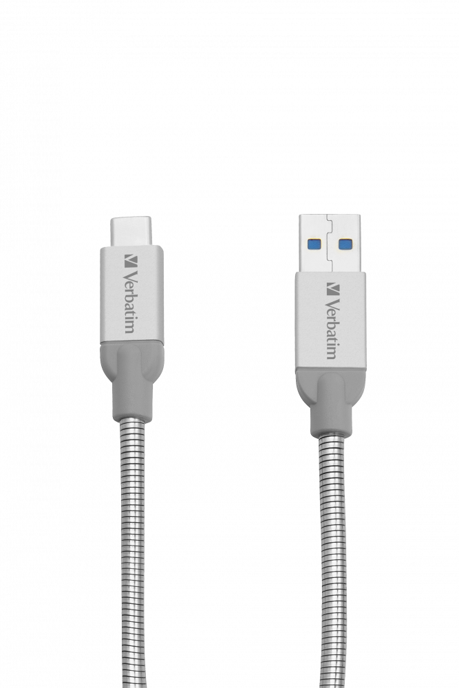 Verbatim USB-C to USB-A Stainless Steel Sync & Charge Cable USB 3.1 GEN 2 30cm