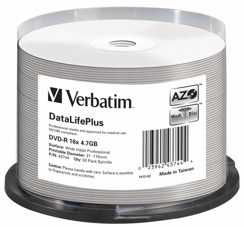 DVD-R 16x DataLifePlus Wide Inkjet Printable 50pk Spindle - No ID Brand