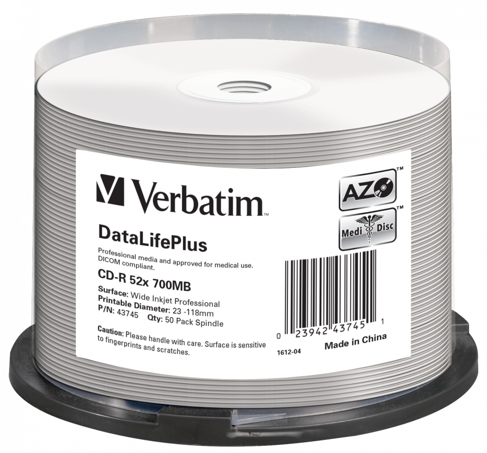 CD-R 52x DataLifePlus Wide Inkjet Printable 50pk Spindle - No ID Brand