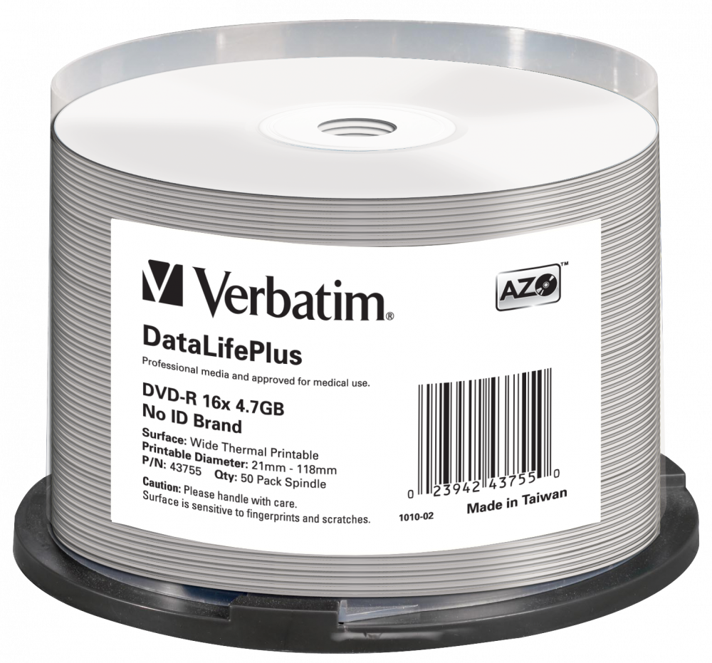 DVD-R 16x DataLifePlus Wide Thermal Printable 50pk Spindle - No ID Brand