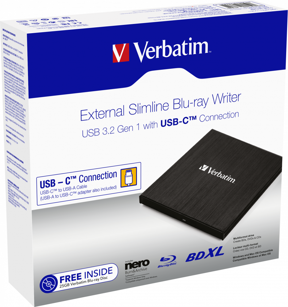 External Slimline Blu-ray Writer USB 3.1 GEN 1 with USB-C Connection