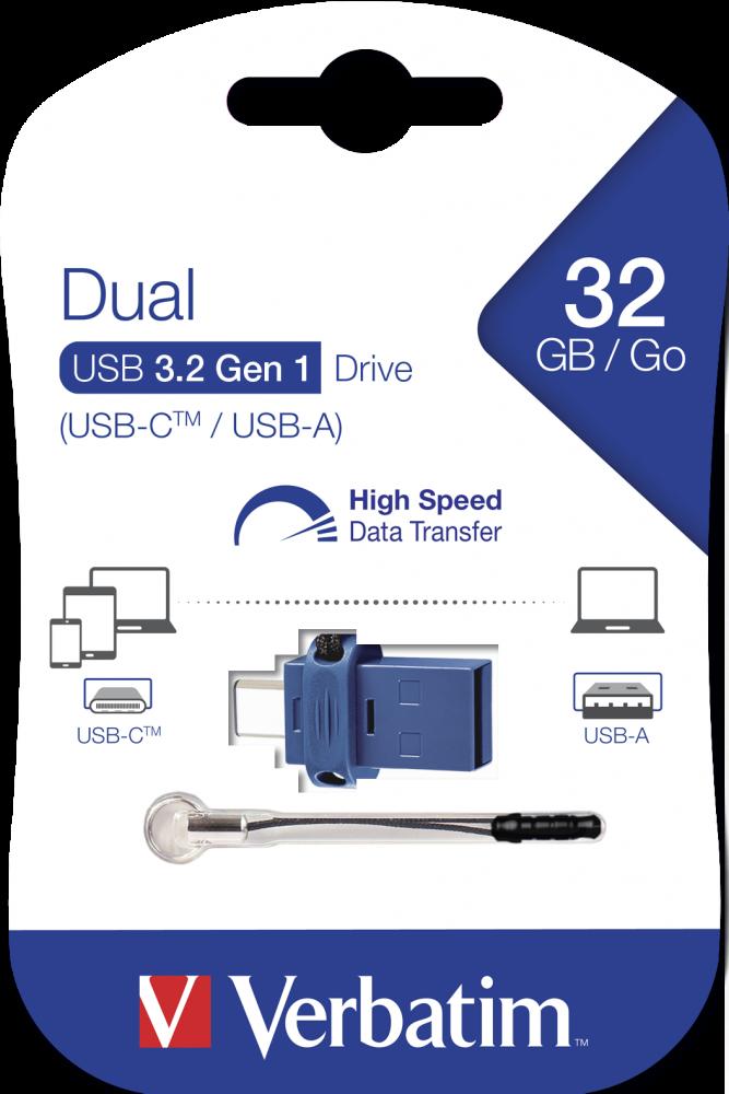 Двухинтерфейсный USB-накопитель USB-C/USB-A 32�ГБ*
