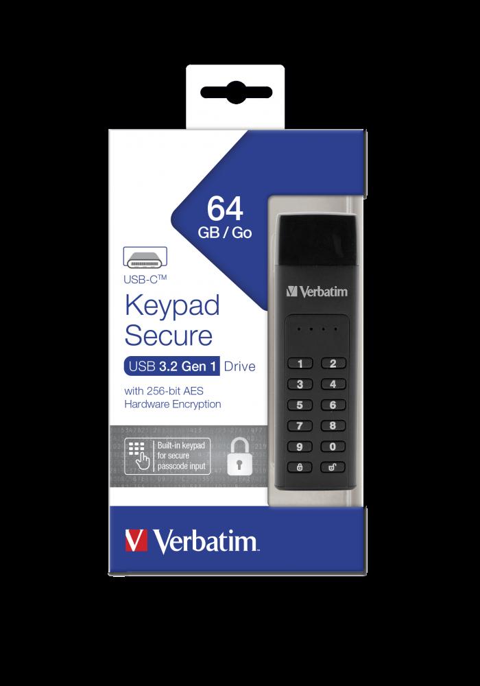 Dysk Verbatim 64GB z interfejsem Keypad Secure ze z³±czem USB-C