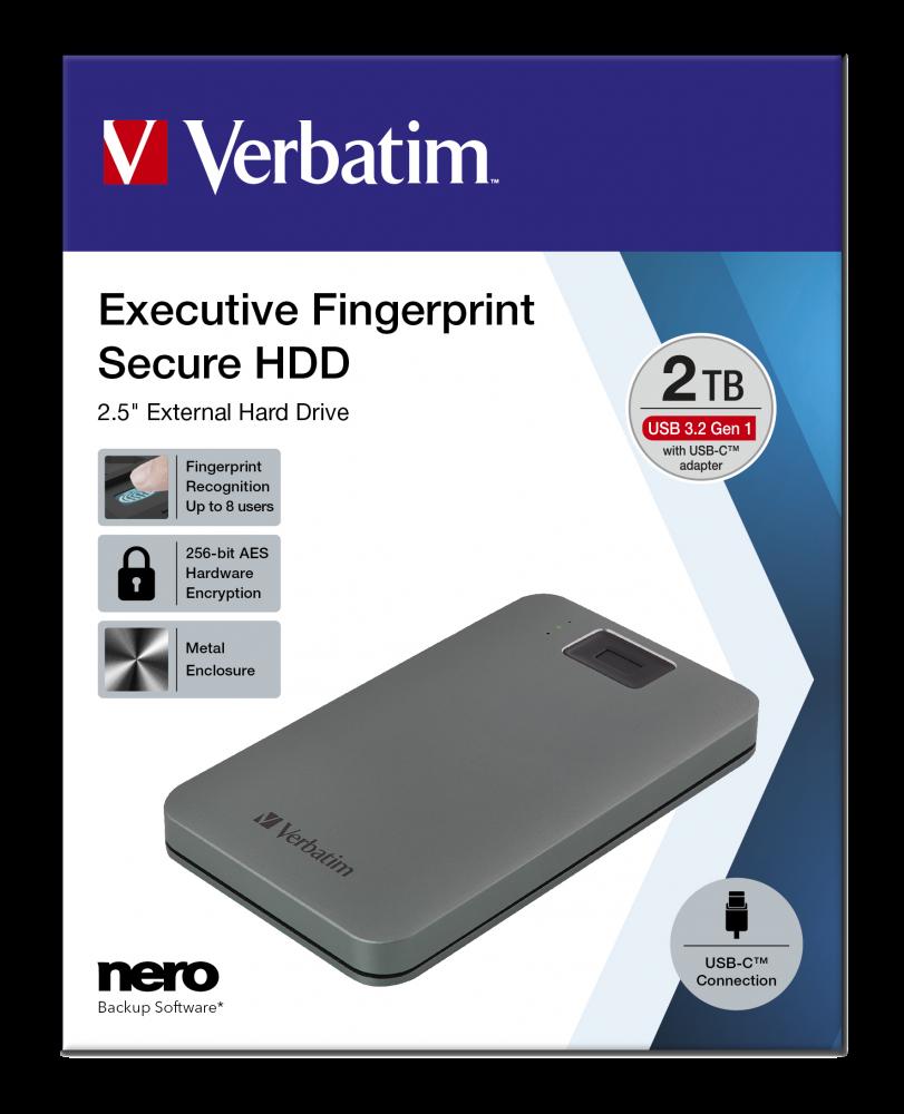 Executive Fingerprint Secure Portabel hårddisk USB 3.2 Gen 1/USB-C 2TB