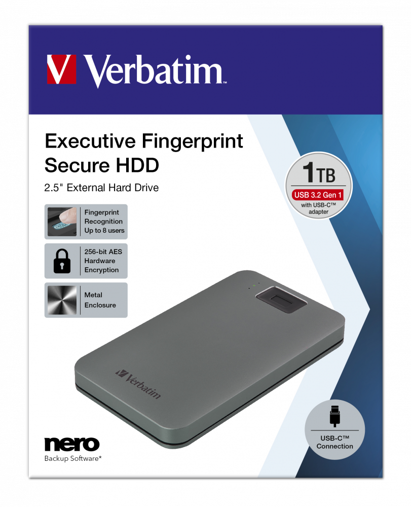 Executive Fingerprint Secure Portable Hard Drive USB 3.2 Gen 1 / USB-C 1TB