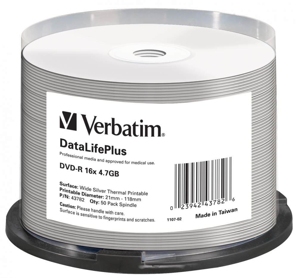 DVD-R 16x DataLifePlus Wide Silver Thermal Printable 50pk Spindle - No ID Brand