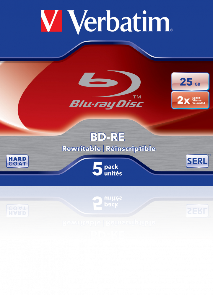 BD-RE SL 25GB* 2x 5 Pack Jewel Case