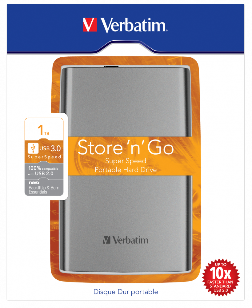 Draagbare vaste Store 'n' Go-schijf met USB 3.0 van 1 TB antracietgrijs