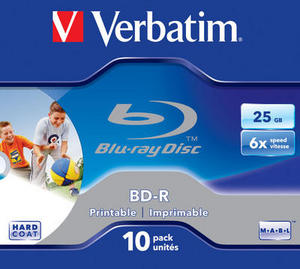 BD‑R SL 25GB 6x Printable 10 Pack Jewel Case