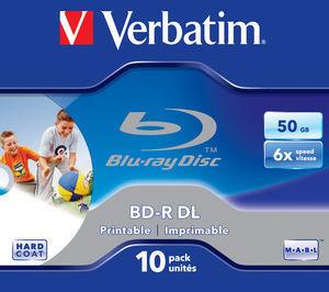 BD‑R DL 50GB 6x Wide Printable 10 Pack Jewel Case ‑ No ID Brand