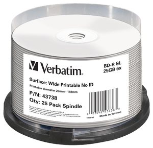 BD-R SL 25GB 6x Wide Printable 25 Pack Spindle - No ID Brand