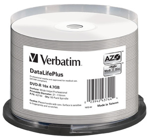 DVD‑R 16x DataLifePlus Wide Inkjet Printable 50pk Spindle ‑ No ID Brand