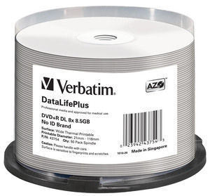 DVD+R DL 8x DataLifePlus Wide Thermal Printable 50pk Spindle ‑ No ID Brand