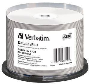 DVD‑R 16x DataLifePlus Wide Thermal Printable 50pk Spindle ‑ No ID Brand