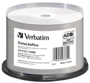CD‑R 52x DataLifePlus Wide Silver Thermal Printable 50pk Spindle
