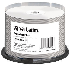 DVD‑R 16x DataLifePlus Wide Silver Thermal Printable 50pk Spindle ‑ No ID Brand