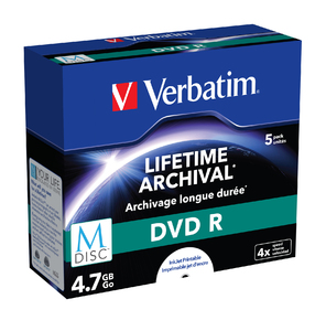 Verbatim MDISC Lifetime Archival DVD R ‑ 5 Pack Jewel Case