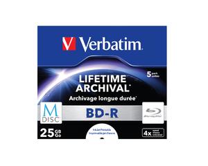 Verbatim MDISC Lifetime Archival BD‑R ‑ 5 Pack Jewel Case