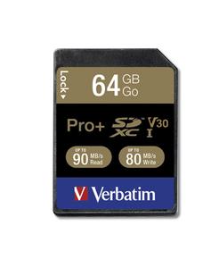 Carte Verbatim Pro+ U3 SDHC/SDXC